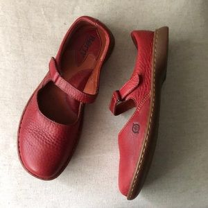 Born Red Leather Mary Jane Slip-on sz 8.5M